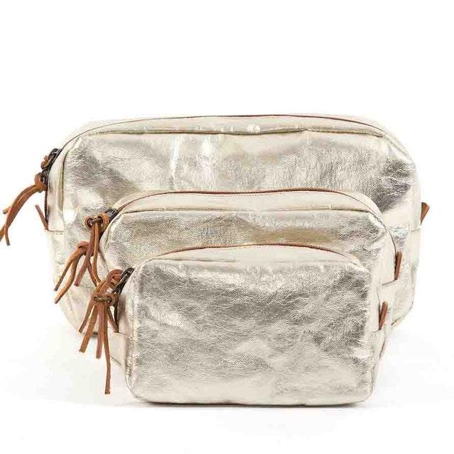 UASHMAMA Beauty Case Small Metallic Metallic Platinum
