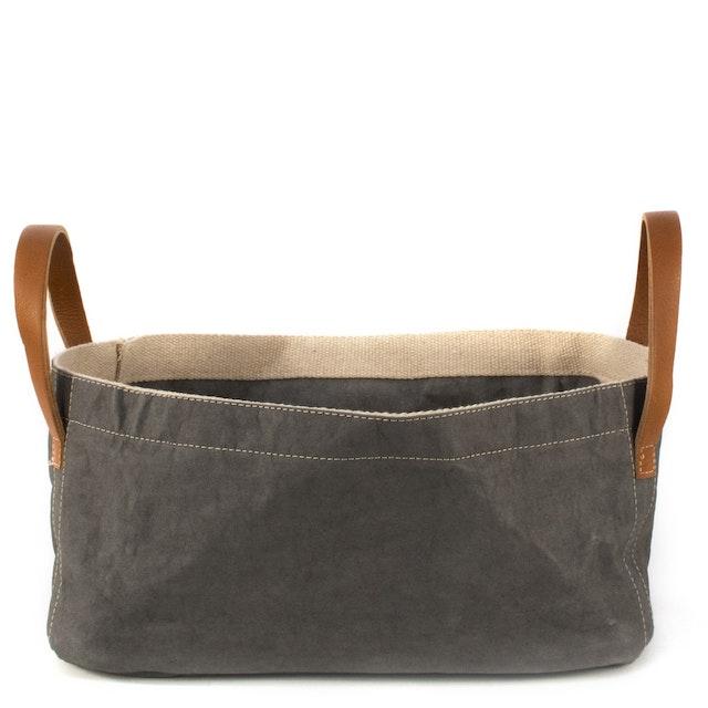 UASHMAMA Vassoio Leather Handles  Dark Grey