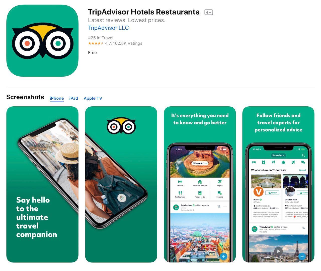 tripadvisor app store screenshots