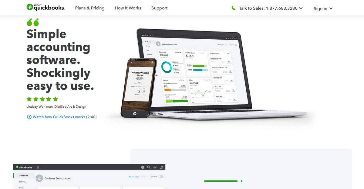 Quickbooks website heads with iPhone and Macbook mockups
