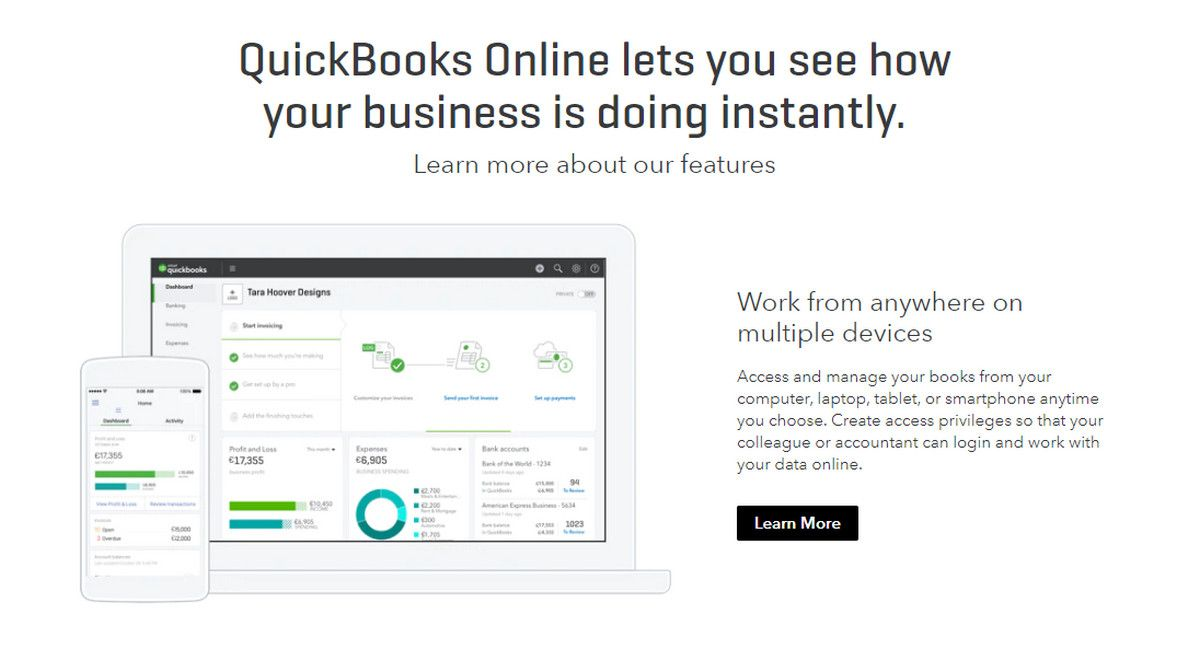 QuickBooks website mockups