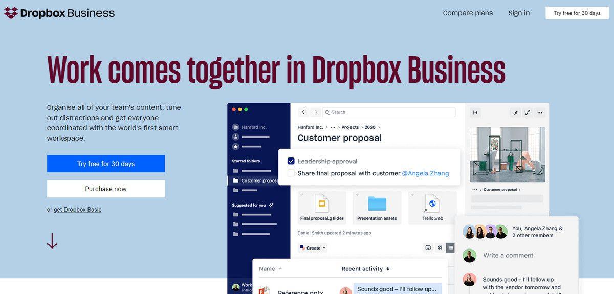 Dropbox Marketing Website