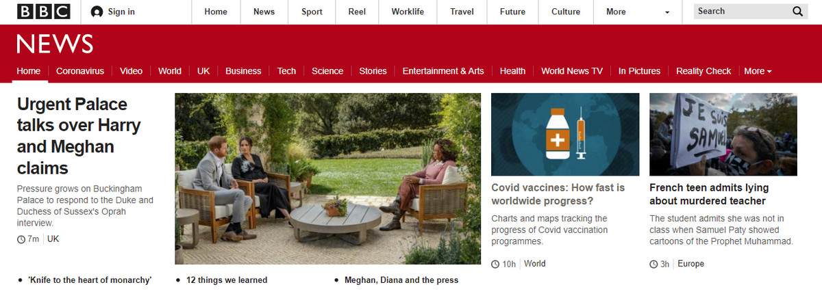Website navigation in BBC News