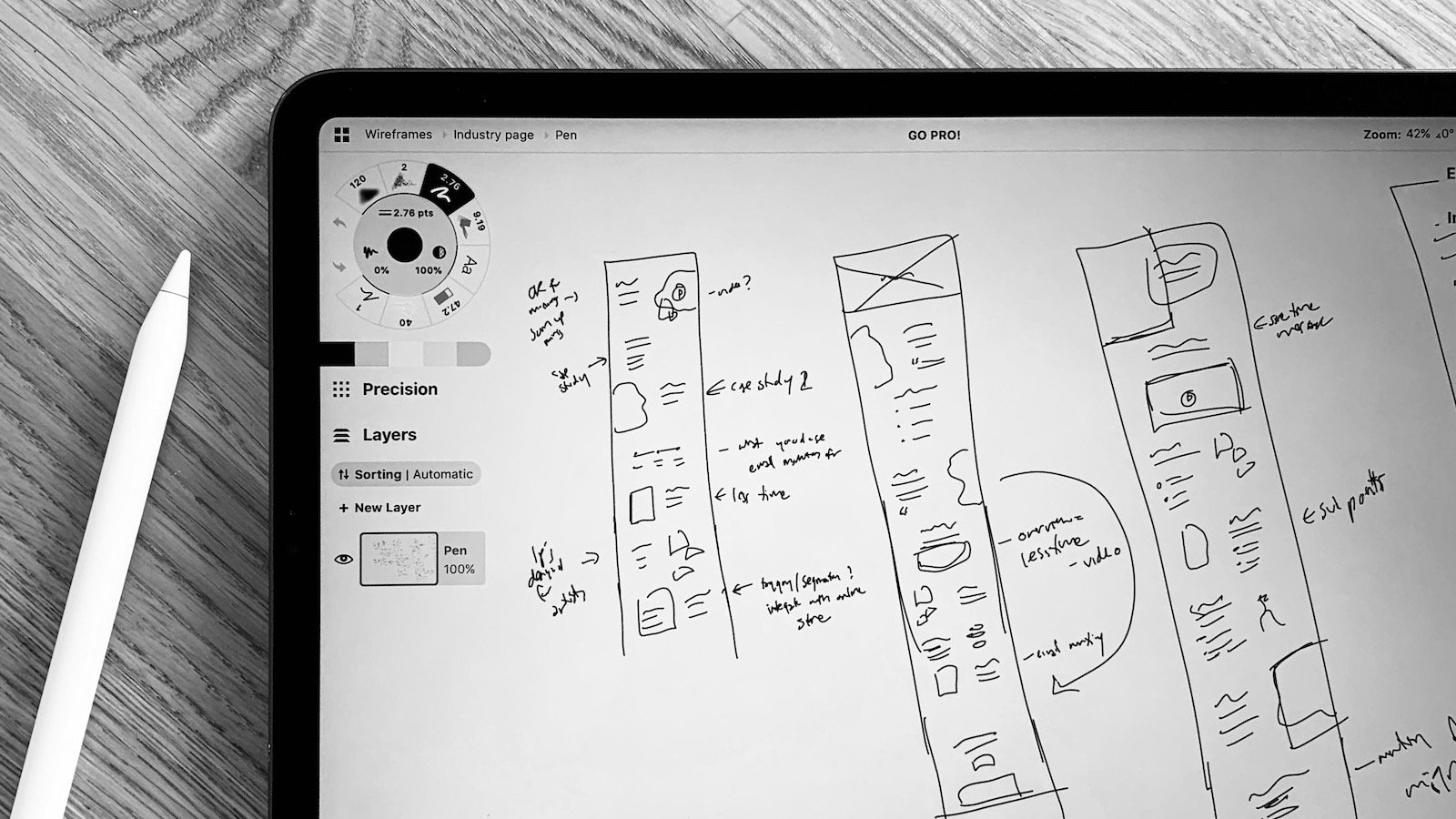 Prototype and wireframes