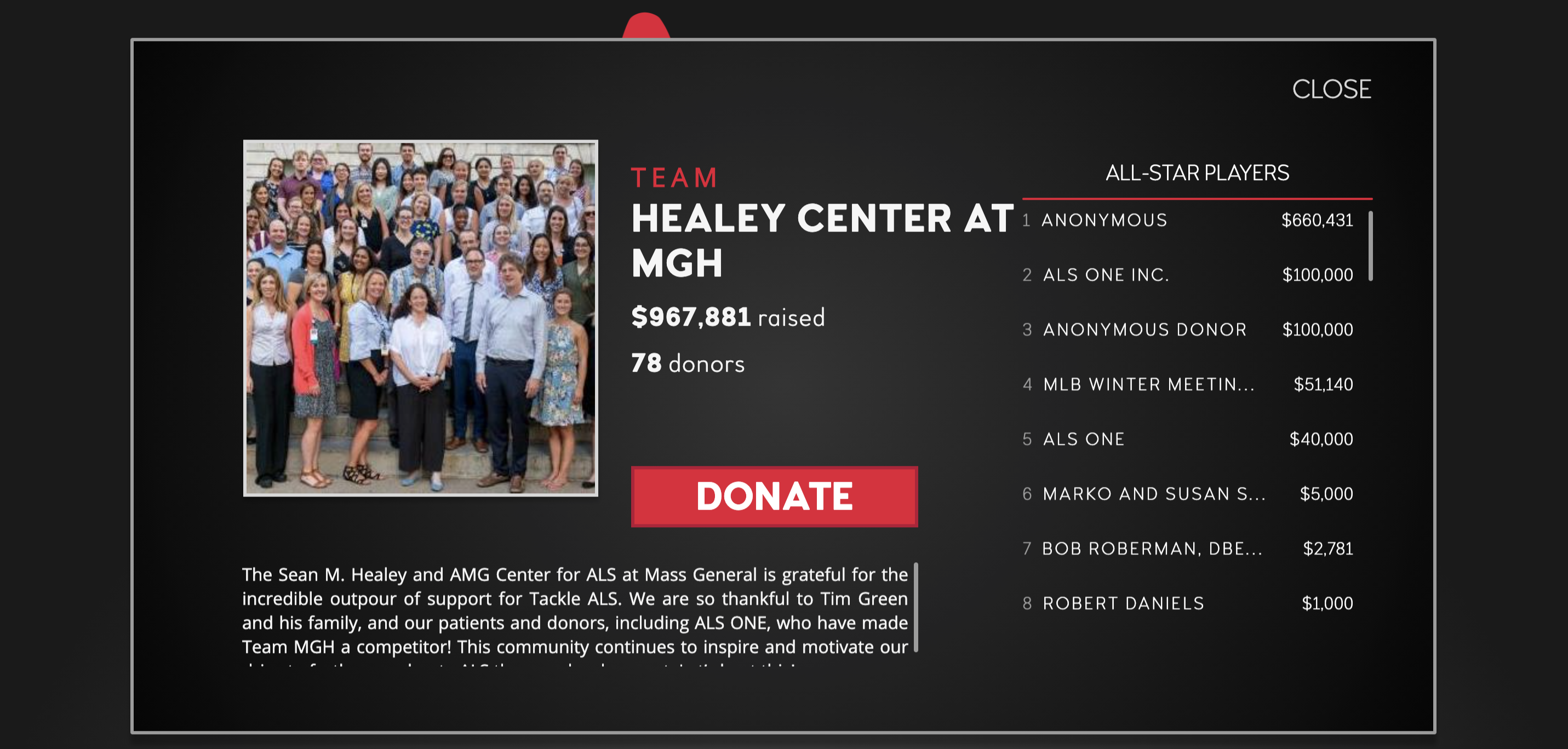 TackleALS - MGH Healy Center donation page