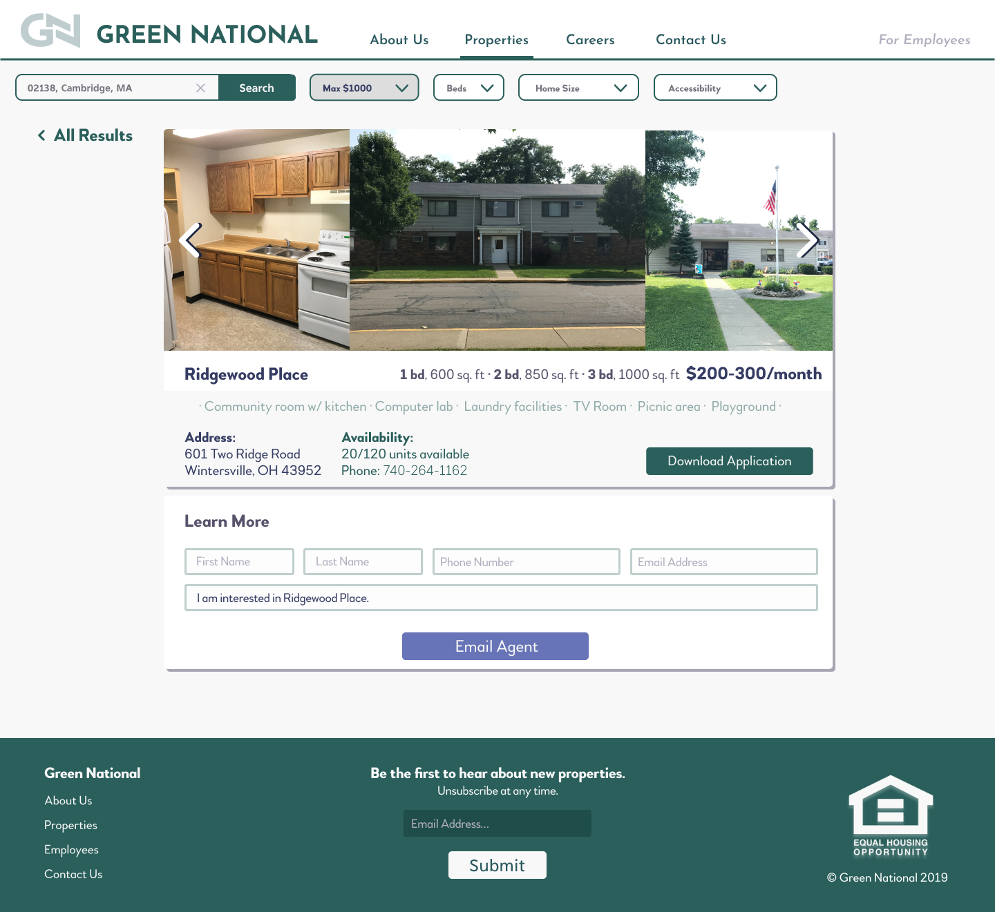 Green National listing page