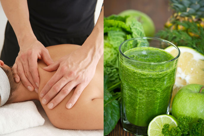 woman receiving massage for cancer treatment and a green smoothie