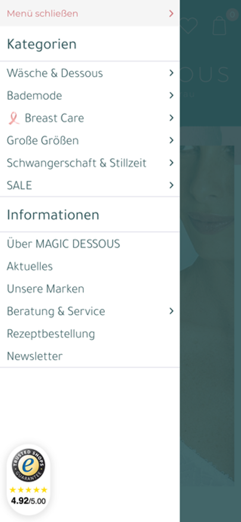 Mobile Ansicht des neuen Online Shops