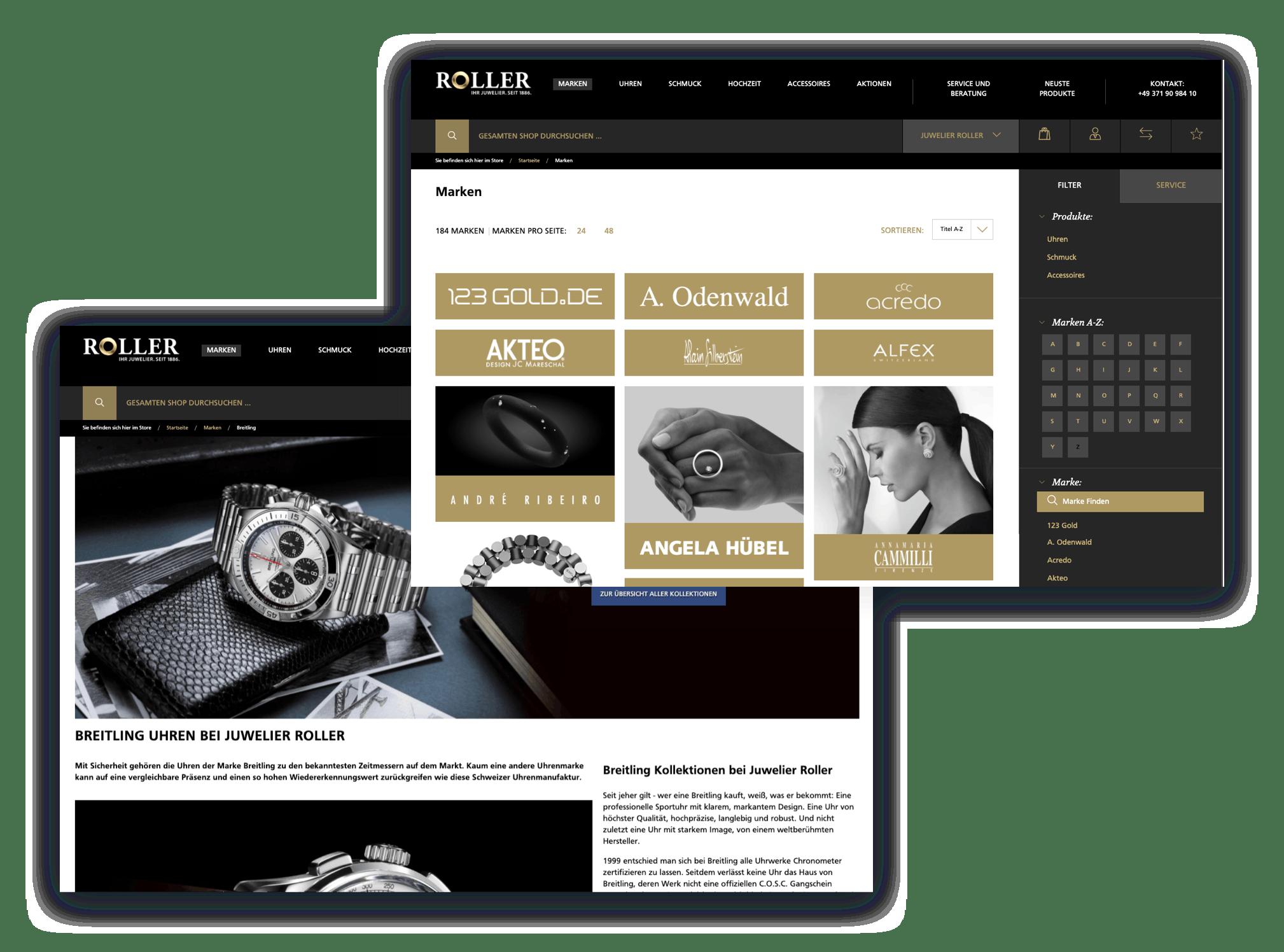 Exklusive Marken bei Juwelier Roller