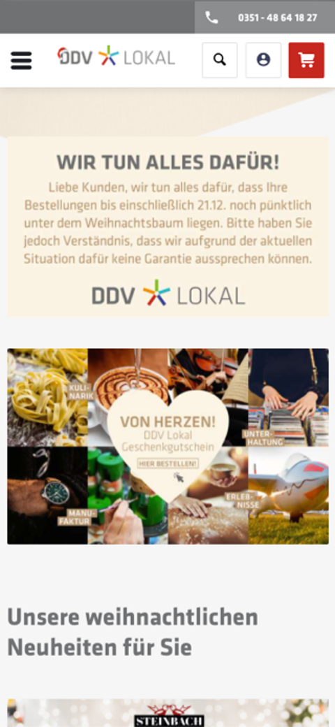 DDV Lokal - mobile Ansicht des Onlineshops