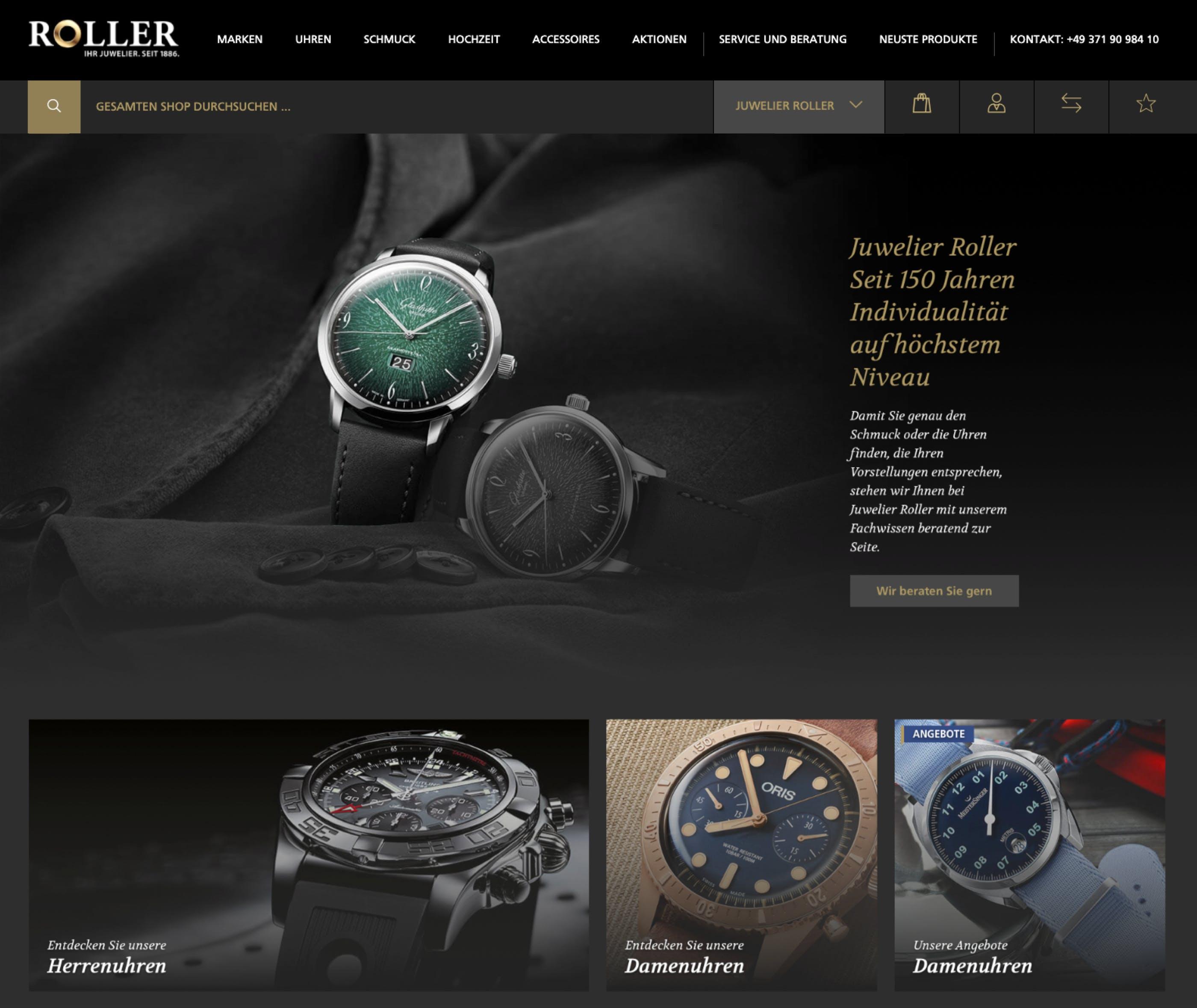 Neue Startseite von Juwelier Roller