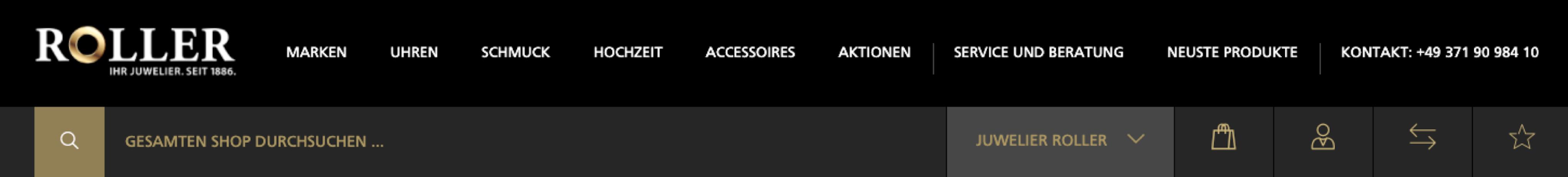 Navigation der neuen Website