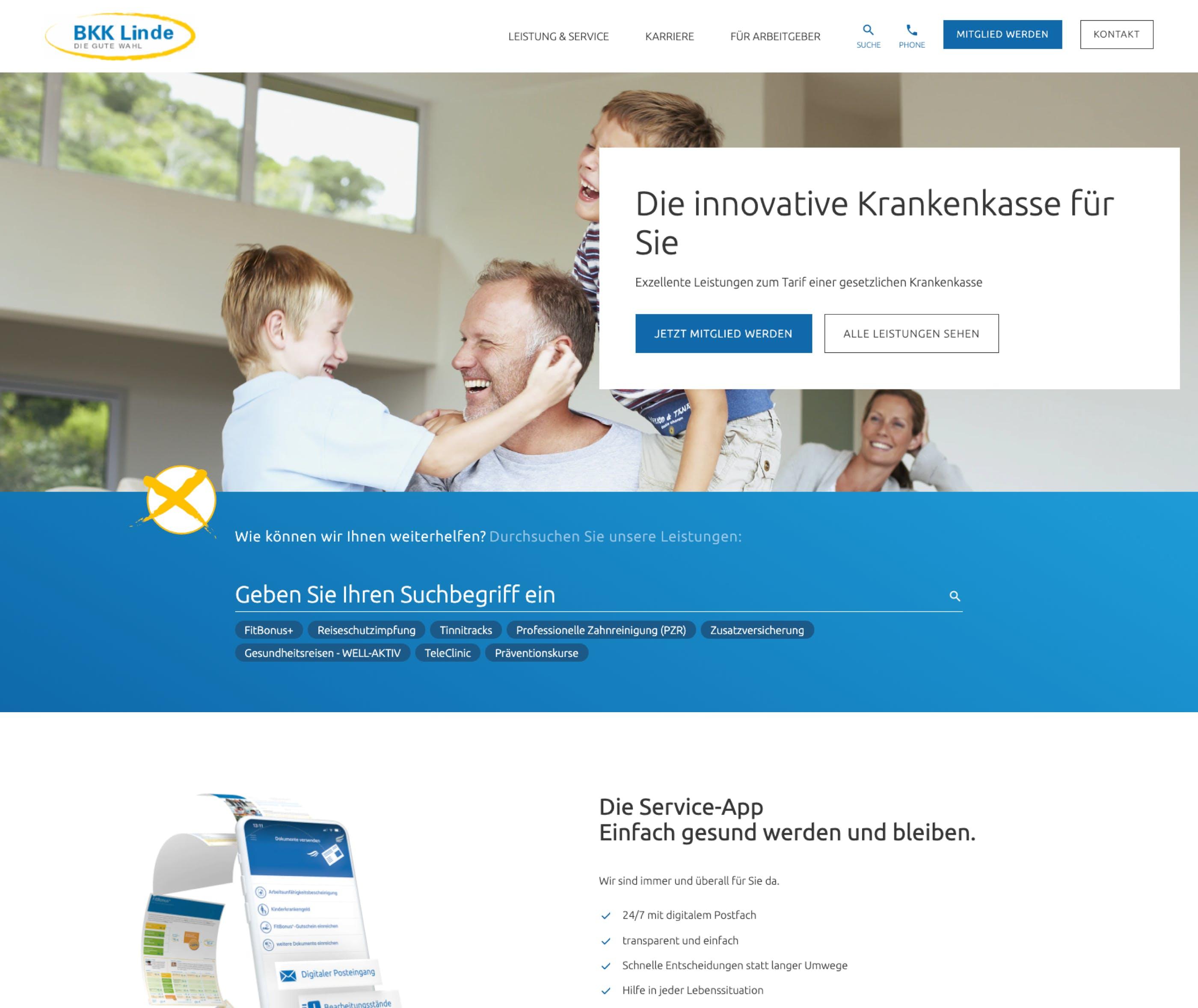Neue Startseite der BKK Linde