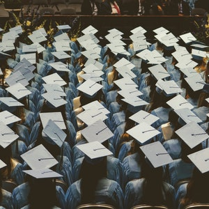 Large group of university students graduating