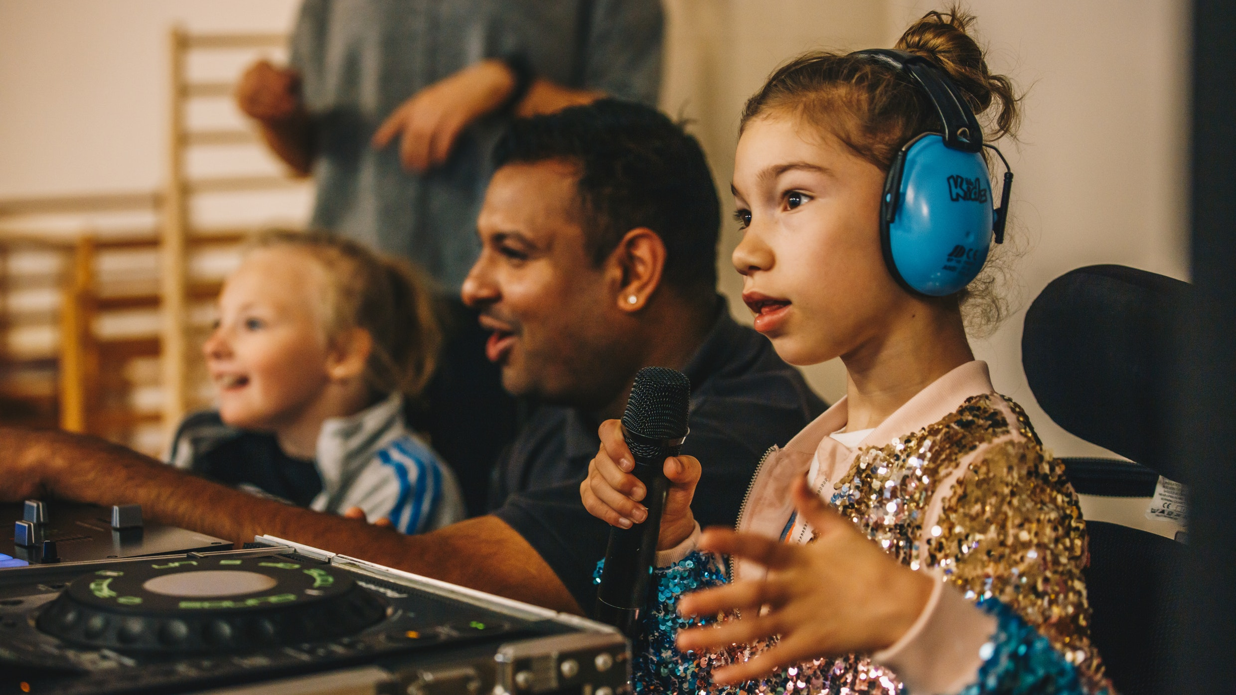 young girl with microphone