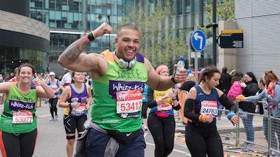 Smiling group of marathon runners