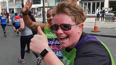 two women running london 10, 000