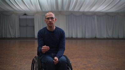 Steven training wheelchair skills 3