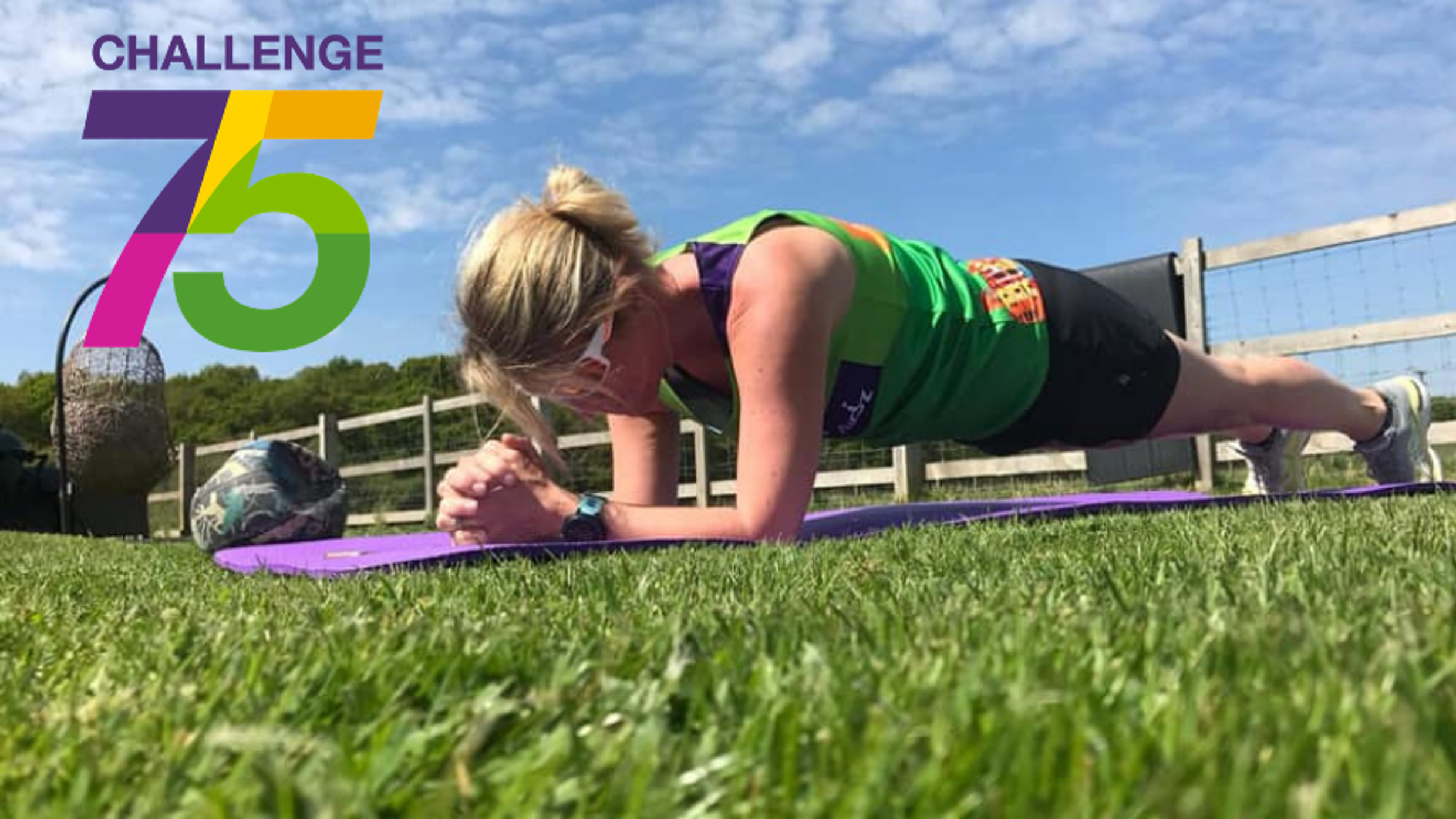 Female in plank position fundraising for Challenge 75