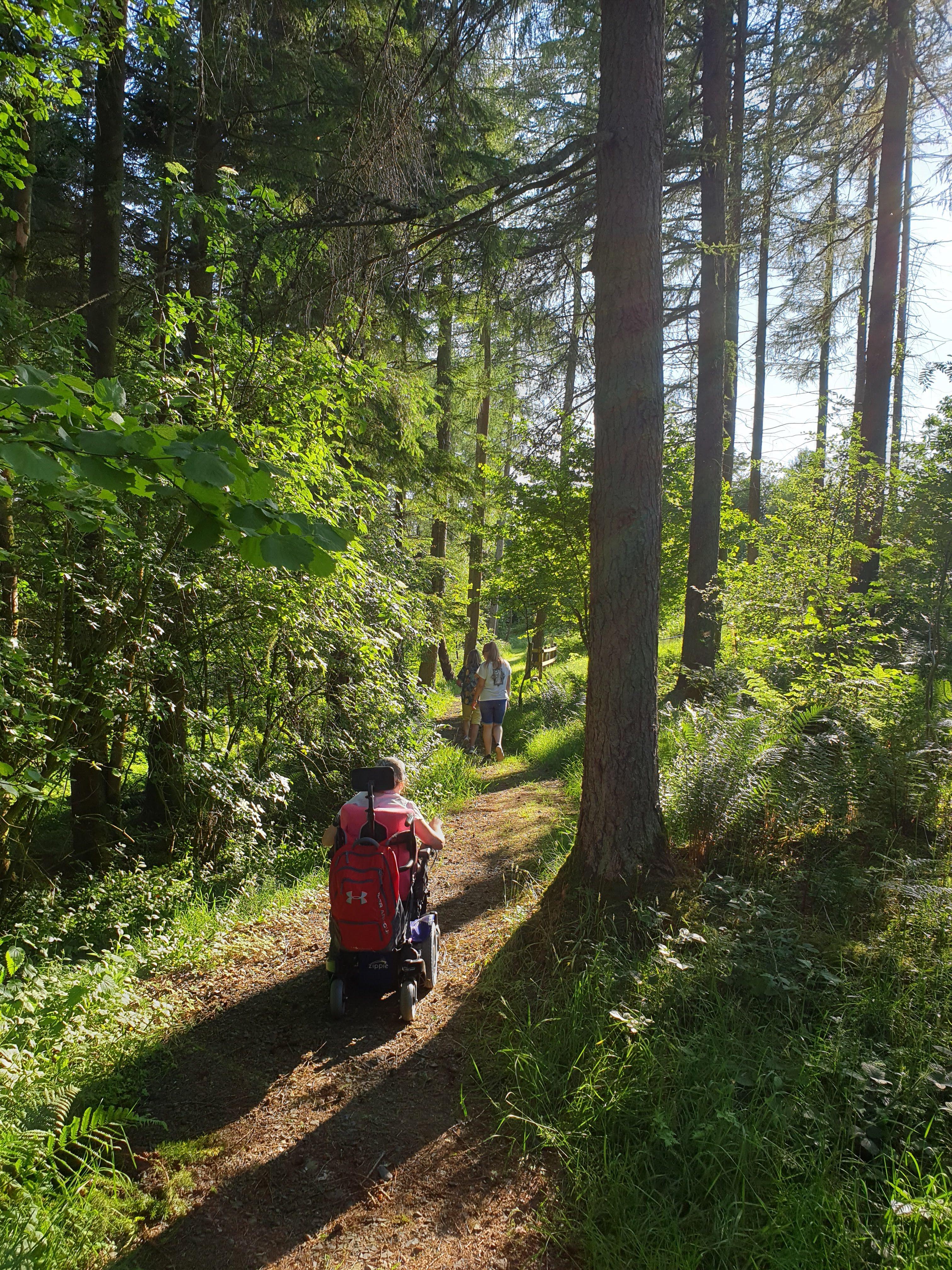 Saskia leads the way in her Whizz-Kidz powered wheelchair