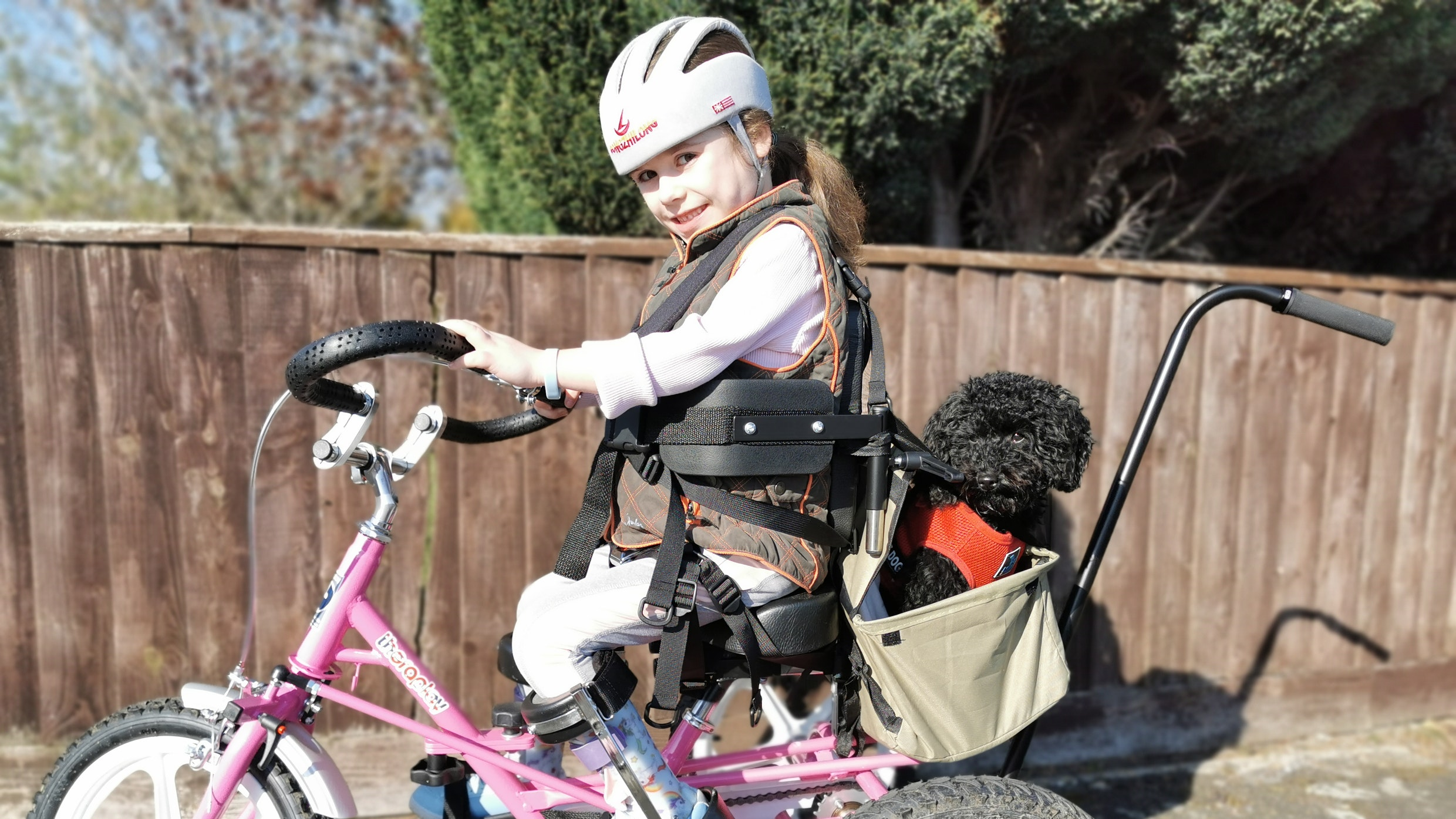 Carmela goes for a ride on her pink trike with dog Tinker
