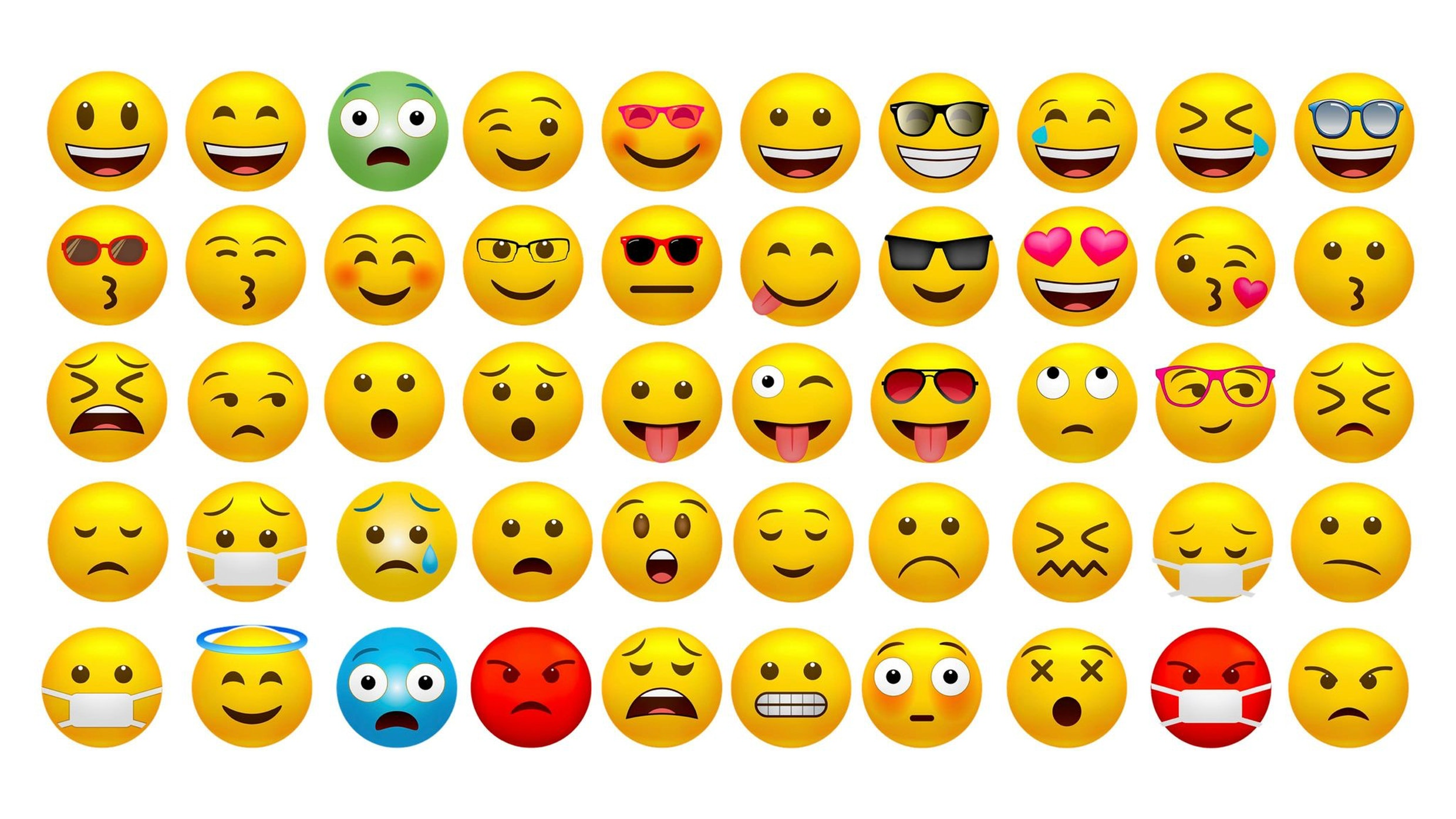 An assortment of emojis showing different facial expressions