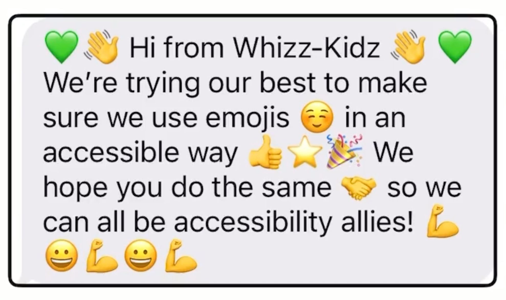A message from Whizz-Kidz showing how NOT to use emojis