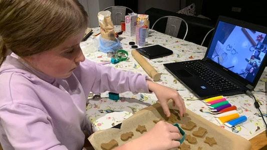 Callie bakes Christmas cookies at a Whizz-Kidz virtual club