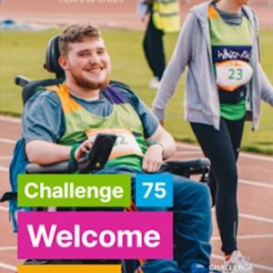 Cover of Challenge 75 Welcome Guide with young wheelchair user smiling