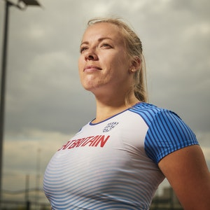 Close-up of Hannah Cockroft wearing a blue and white Great Britain t-shirt
