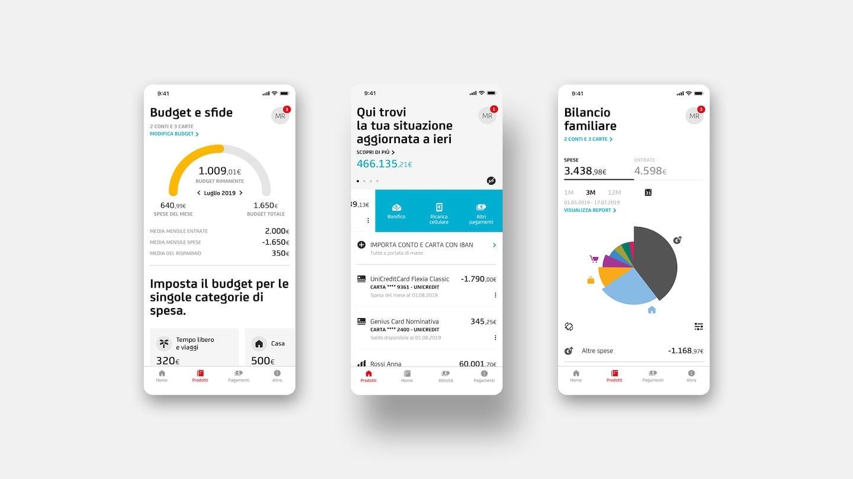 UniCredit Mobile Banking App Screens