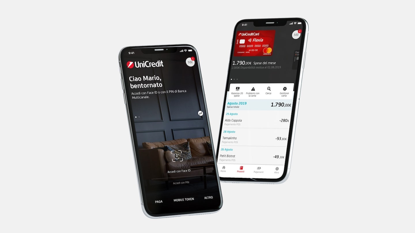 UniCredit Mobile App Splash screen and Financial Overview