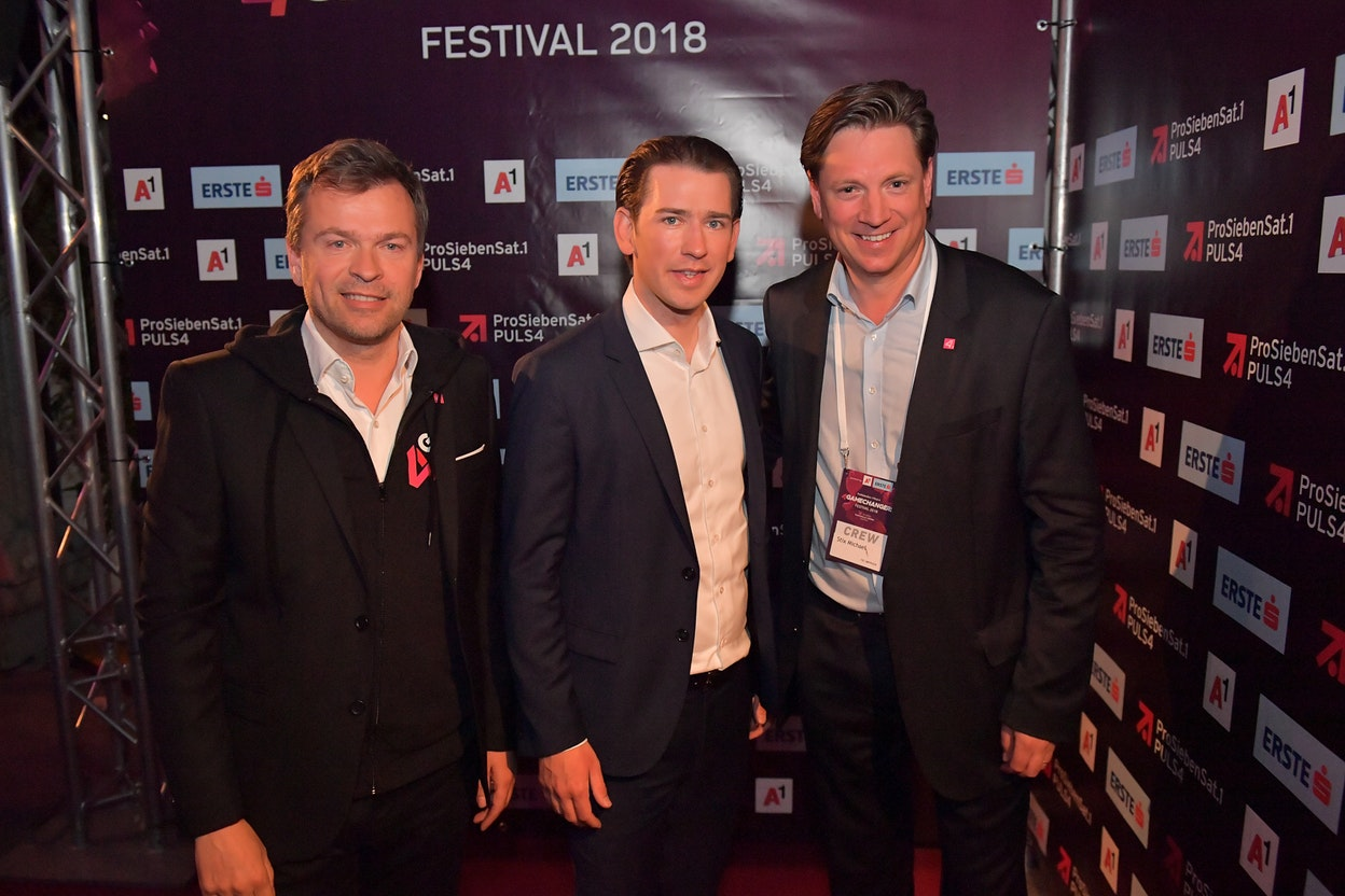 Markus Breitenecker, CEO ProSiebenSat.1 PULS 4, Bundeskanzler Sebastian Kurz, Michael Stix, CCO ProSiebenSat.1 PULS 4