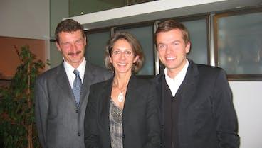 Markus Breitenecker und Stefanie Bleil, SevenOne Media Austria, mit Dr. Josef Trappel, Prognos AG Basel - copyright SevenOne Media