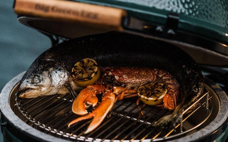 Large Big Green Egg roasting salmon