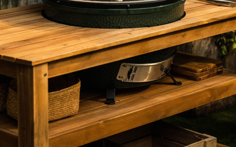 XL Big Green Egg Acacia Table and Table nest