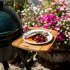 MiniMax Big Green Egg in a Foldable Stand with Acacia Shelves and Champagne