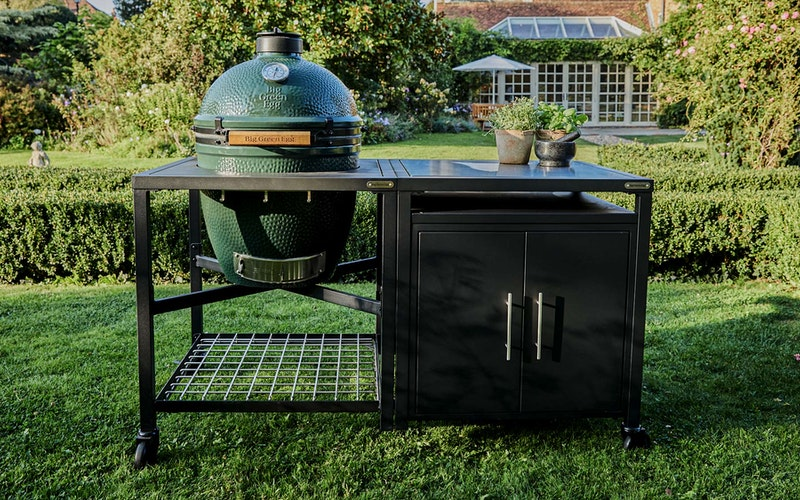 Large Big Green Egg in a Modular Nest Expansion Cabinet