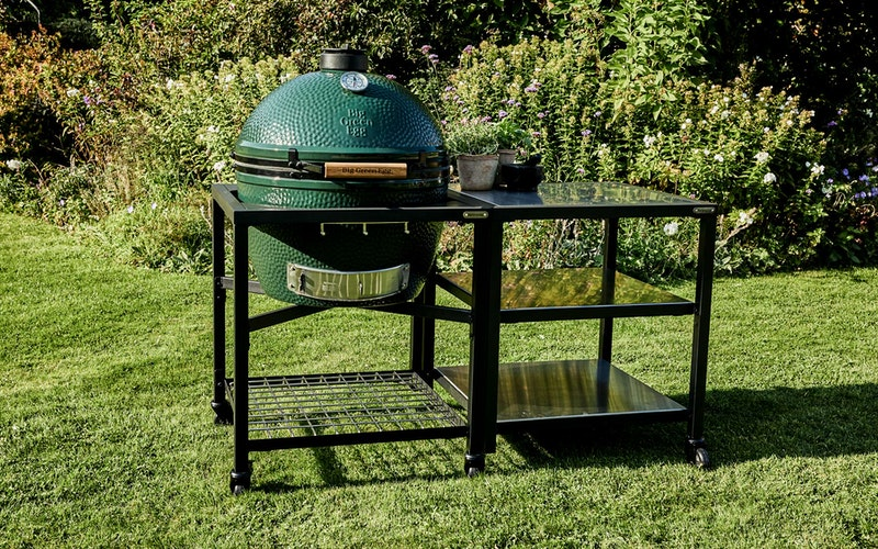 XL Big Green Egg in a Modular Nest Expansion frame with Stainless Steel inserts
