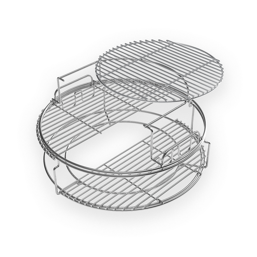 The five piece EGGspander kit comes with a convEGGtor basket, a two-piece multi-level rack and two stainless steel half grids