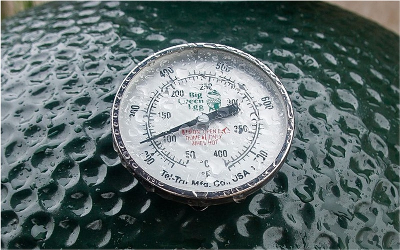 The EGG's characteristic dial, in the rain