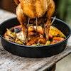 Circular Drip pan roast chicken