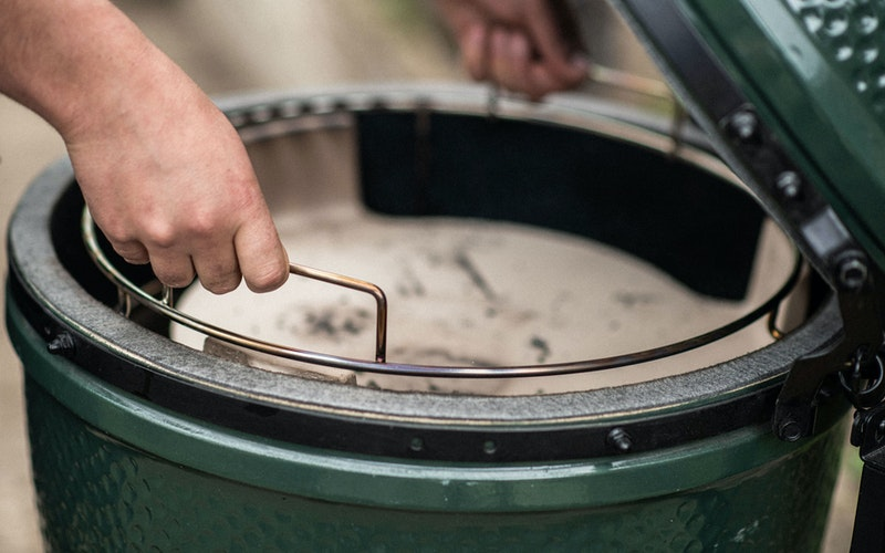 ConvEGGtor basket being put into a Large Big Green Egg