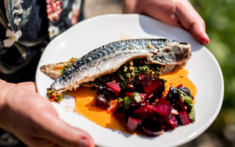 PLANK-COOKED MACKEREL WITH CHERMOULA & MOROCCAN BEETS