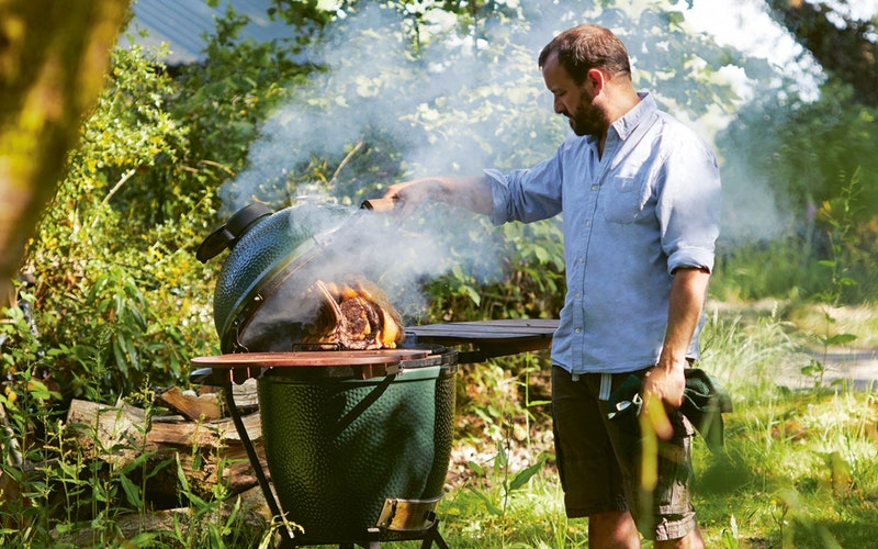 James Whetlor cooking a rib of beef on a Large Big Green Egg for Cooking on the Big Green Egg cook book
