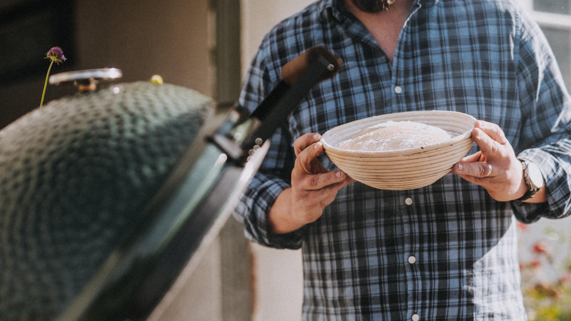 sourdough dough in a basket