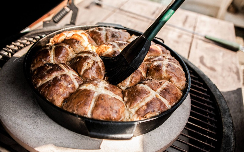 Hot Cross Bun Bread & Butter Pudding | Recipes | Big Green Egg