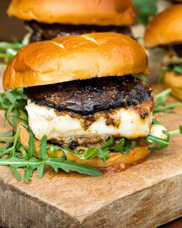 Umami Mushroom & Halloumi Burgers   Tom Kerridge Cooking Outdoors   Big Green Egg