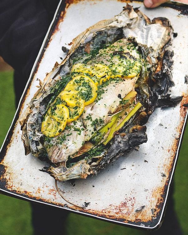 Whole fish in newspaper   Tom Kerridge   Big Green Egg