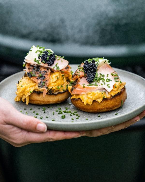 Smoked Salmon, Scrambled Egg & Caviar Crumpets | Recipes | Big Green Egg